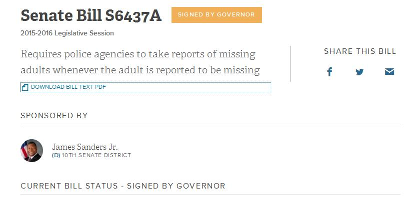 Missing Person's Bill Becomes Law